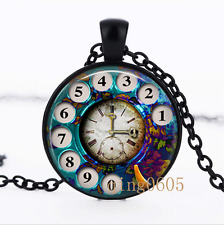 Phone Rotary Dial clock photo Glass Dome black Chain Pendant Necklace wholesale