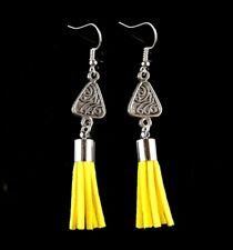 Bohemian Antique Silver Tibetan Style Earrings with Yellow Suede Tassels #1212