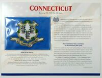 """Connecticut State Flag Patch with Stats Facts Willabee & Ward Card 9"""" x 12"""""""