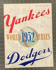 Vintage 1952 World Series Program NY Yankees vs Brooklyn Dodgers Unscored