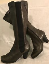 Audley Khaki Knee High Leather Beautiful Boots Size 39 (259v)