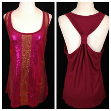 DKNY Jeans Sequined Tank Top Womens Size Meduim Shimmery Burgundy Pink Gold