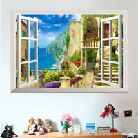 50*70cm Sea View 3D Window Wall Art Sticker Vinyl Decal Decor Mural Removable