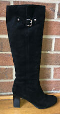 $229 Women's MICHAEL KORS Suede Leather Tall Knee-High Stretch Boots Black 8.5M