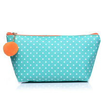 Pretty Small Verde A Pois Moda/make-up Cosmetic Bag & Carino Pom Pom-CS120