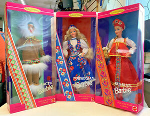 Lot of 3 Dolls of the World Barbies Arctic, Norwegian, Russian Collector Ed. Toy