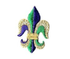 Fleur de lis - Mardi Gras - Purple/Green/Gold Iron on Applique/Embroidered Patch