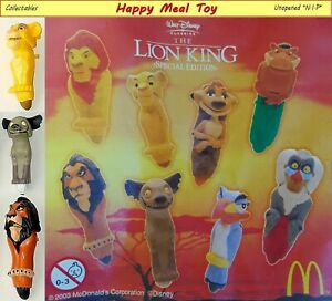 McDonald's Happy Meal Toy 2003 Lion King Finger Tapper Puppets Assorted ( NIP )