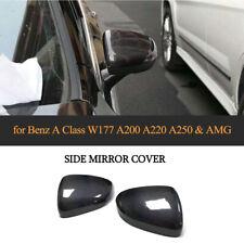 2PCS Carbon Side Mirror Cover Cap For Benz A Class W177 A200 A220 A250 & AMG 19+