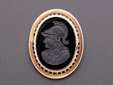 14k Rose Gold Carved Onyx Stone Intaglio Soldier Brooch Pin Pendant