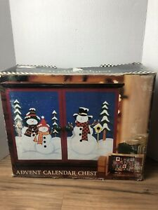 Costco Advent Calendar Chest W/ Snowmen 24 Refillable Wood Boxes Christmas Decor