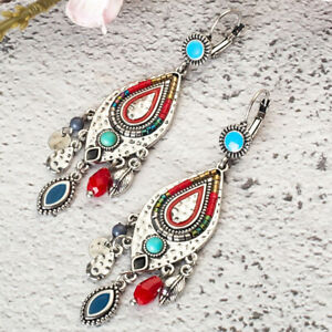 Hand Made Red Indian Style Earring Native Style Wedding Dangle Earring