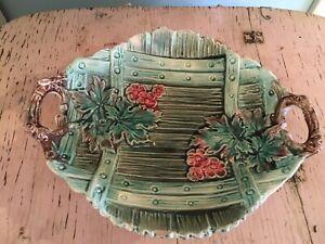Lovely Majolica Platter Pink Floral Shabby Garden Style 1880 #3