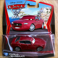 Disney PIXAR Cars 2 CARLO MASERATI # 25 (brother to Bindo) diecast Italian race