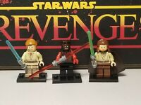 Darth Maul Obi One Kenobi & Qui Gon Jinn battle jedi lot 3 minifigures Star Wars