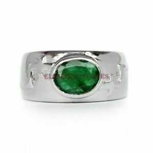 Natural Emerald Gemstone with 925 Sterling Silver Ring for Men's EG804