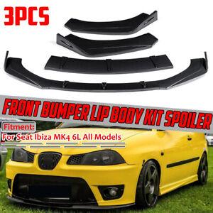 For Seat Ibiza MK4 6L Front Bumper Cup Chin Spoiler Lip Valance Splitter CARBON