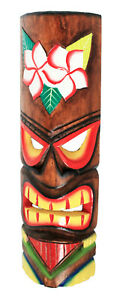 TIKI Mask Wooden Wall Plaque 50cm Hand Carved Painted SURFER/ MAORI STYLE FLOWER