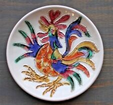 Decorative Retro Rooster Portugal Pottery Majolica Wall Plate ZE Augusto