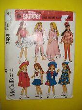 Vtg Barbie SKIPPER 60s Doll Clothes PATTERN McCALL'S 7480