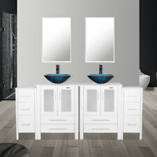 """72"""" Bathroom Vanity W/Small Cabinet Set Tempered Glass Vessel Sink Mirror Faucet"""