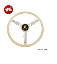 "EMPI 79-4064 Banjo Style Ivory 3 Spoke Steering Wheel, 15.5"" Diameter"