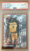 1996 Finest #74 Kobe Bryant RC PSA 10 Gem Mint Rookie Los Angeles Lakers