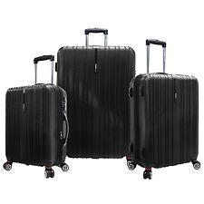 Traveler's Choice Black Tasmania 3pc 100% Polycarbonate Luggage Spinner Bag Set