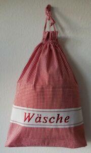 Wäschebeutel Wäschesack kariert Stickerei Landhaus Baumwoll-Mischung