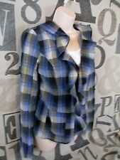 Free People Blue Plaid Ruffle Open Front Shirt Jacket Size 4 BOHO Peplum Pockets
