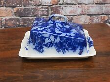 Vintage Wedgwood Ironstone Flow Blue Covered Cheese Or Butter Dish -Great Shape