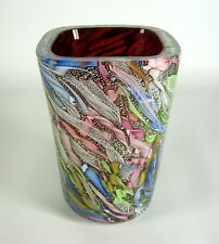 A.V.E.M Glas Vase Latticino / Zanfirico Handmade Venetian Glass Murano Italy RAR