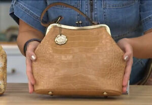 Patricia Nash Laureana Biscuit Croc Frame Satchel Leather Handbag Crossbody