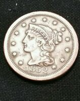 1852 Liberty Braided Hair Large Cent Old US Coin Copper NR FREE SHIP