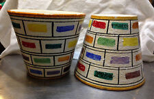 Pair Lagre 1950s Fratelli Fanciullacci Italian Pottery Jardinieres Color Stipes