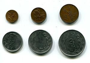 Turkey 1, 5, 10 & 25 Kurus & 1, 2½ Lira 1966 KM-889 890 891 892 893 895 (6 pcs)