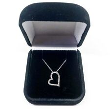 14k White Gold Authentic Diamond Heart Necklace