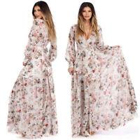 Women's Chiffon Floral Long Maxi Dress Long Sleeve Evening Party Beach Dresses