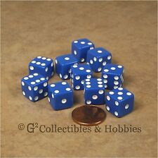 NEW Set of 10 Blue 12mm D6 Six Sided RPG Game Dice D&D