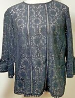 F & F Size 16 Lace Black Cotton Top Bell Sleeve Sheer Scalloped Hem Party Gothic
