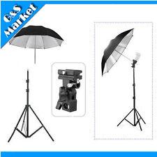 "Light Stand + Flash Bracket B Mount + 33"" Black & Silver Umbrella Kit flash kit"