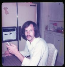 Vintage Photo Handsome Blue Eyed Man Long Hair Mustache | Gay Interest 1970's