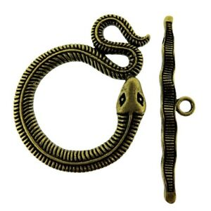 Toggle Clasp T-Bar & Ring Clasps Large Snake Design Antique Bronze (3) FNTC4671