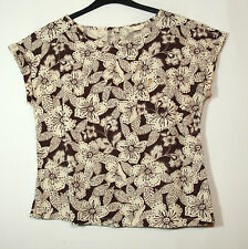 BROWN IVORY CREAM FLORAL LADIES CASUAL TOP BLOUSE SIZE 14 BHS LINEN BLEND