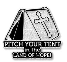 Land of Hope Inspire White Silver Spiritual Awareness Pin Faith Cross Pitch Tent