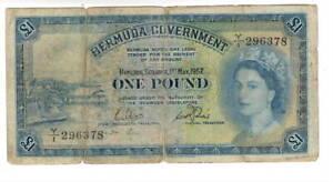 BERMUDA 1 Pound F/VF Queen Elizabeth II Banknote (1957) P-20b Prefix Y/1