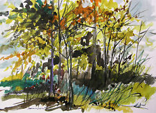 ORIGINAL Painting Trees Landscape John Williams Watercolor Impressionism JMW art