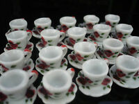 4 Set Spott Red Green  Paint Coffee Cup and Scallope Plate Dollhouse Miniatures