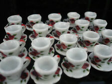 4 Set Coffee cup and Saucer Hand Painted Flower Dollhouse Miniatures  Deco