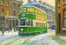 Liverpool VERDE DEA STREAMLINER TRAM BUS Natale Compleanno carta